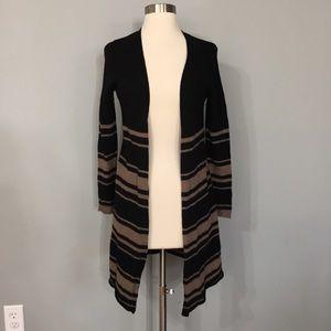 Tahari 100% Merino Wool Stripe Open Cardigan